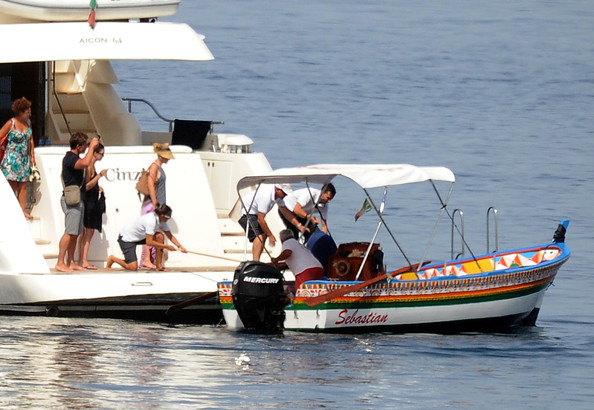 actress Scarlett Johansson on board luxury yacht cinzia with bodyguard and assistant in italy