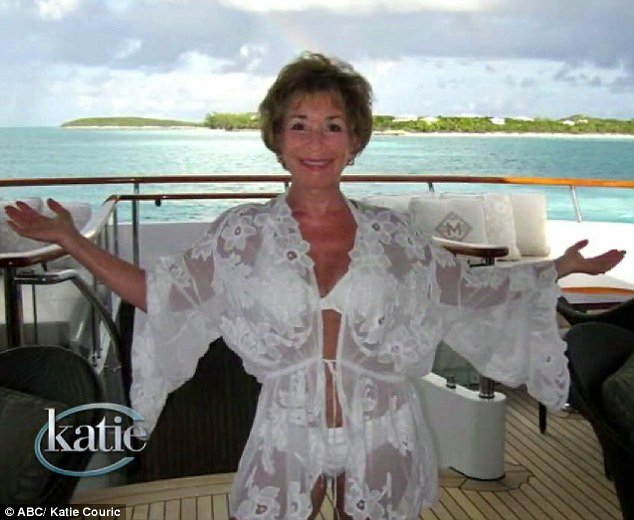 judge judy on board her superyacht Triumphant Lady in the bahamas