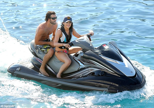brody jenner and kylie kardashian on jetski on vacation on luxury yacht O'Ceanos in  greece