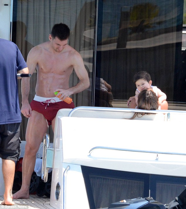 Footballer Lionel Messi on board luxury yacht with family in ibiza in july