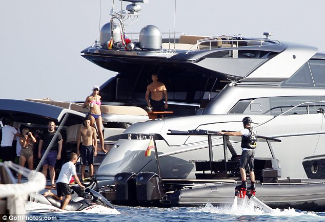 friends watch leonardo dicaprio flyboard in ibiza on luxury yacht vacation