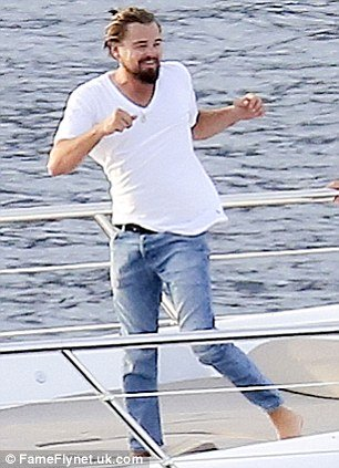 Leonardo dicaprio does karate on board luxury yacht in the french riviera