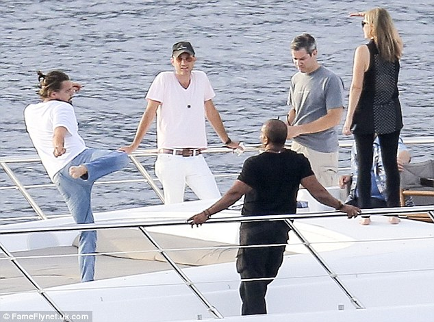 Leonardo dicaprio shows off karate  movies to friends on board luxury yacht in the french riviera