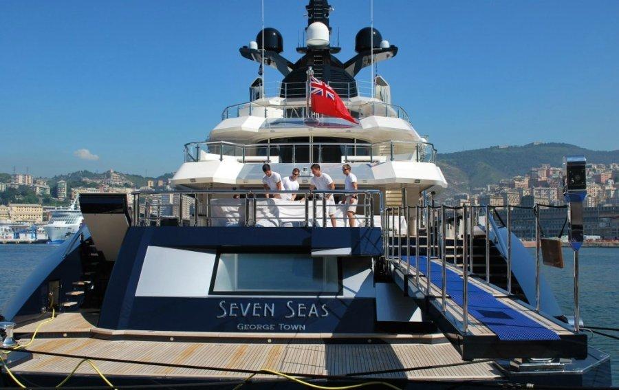 on board sundeck of Steven Spielberg's luxury yacht Seven Seas