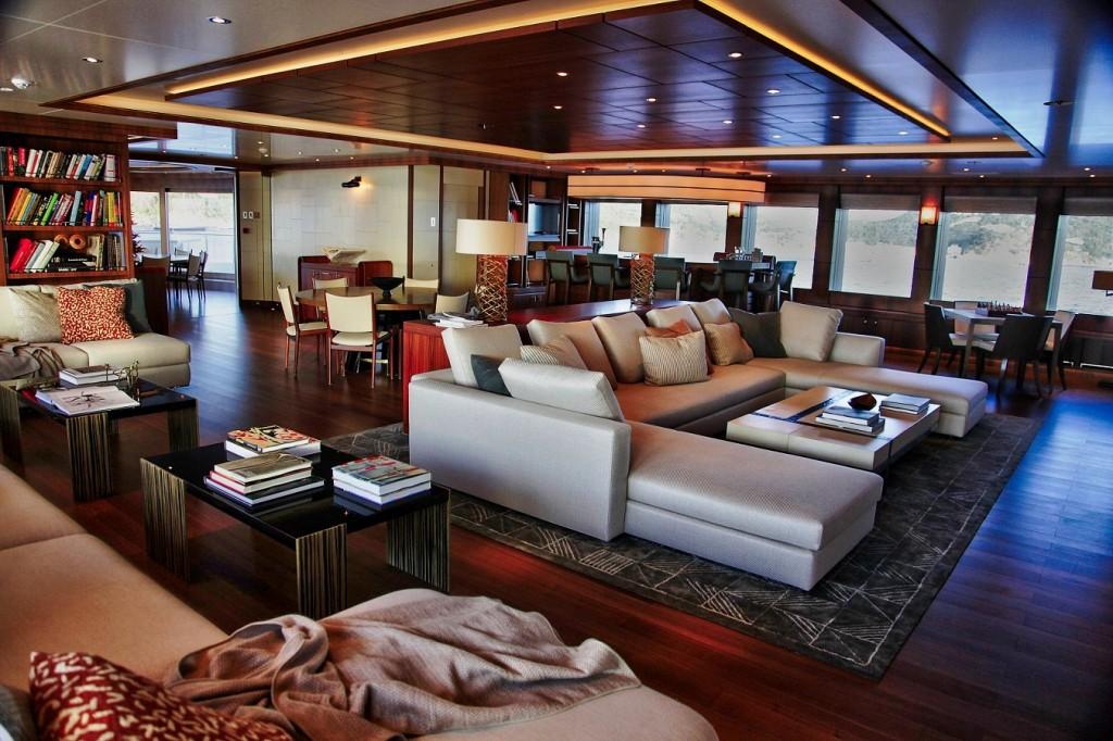 main salon on board Steven Spielberg's luxury yacht Seven Seas