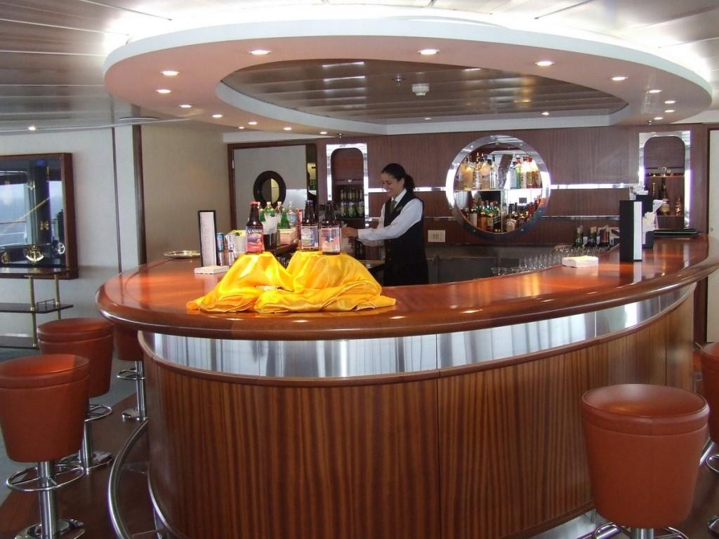 bar on board Steven Spielberg's luxury yacht Seven Seas