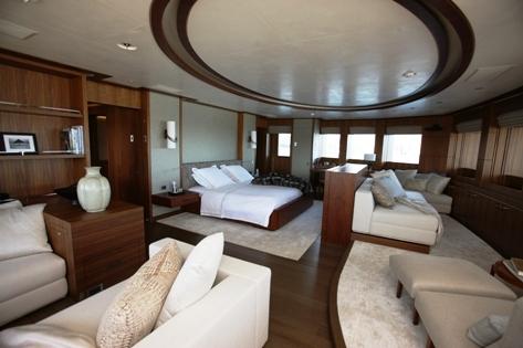 luxurious master suite on board Steven Spielberg's luxury yacht Seven Seas