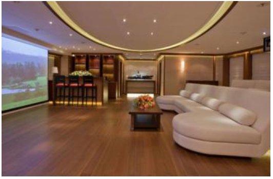 cinema room on board Steven Spielberg's luxury yacht Seven Seas