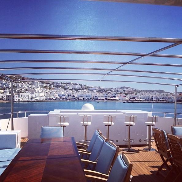 the kardashian family's chartered luxury yacht O'Ceanos's bar area
