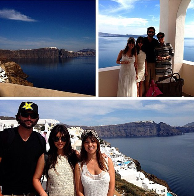the kardashians on board luxury yacht O'Ceanos on vacation in mykonos in greece