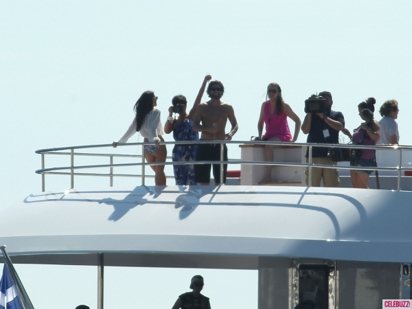 the kardashians filming on top deck of luxury yacht O'Ceanos in greece