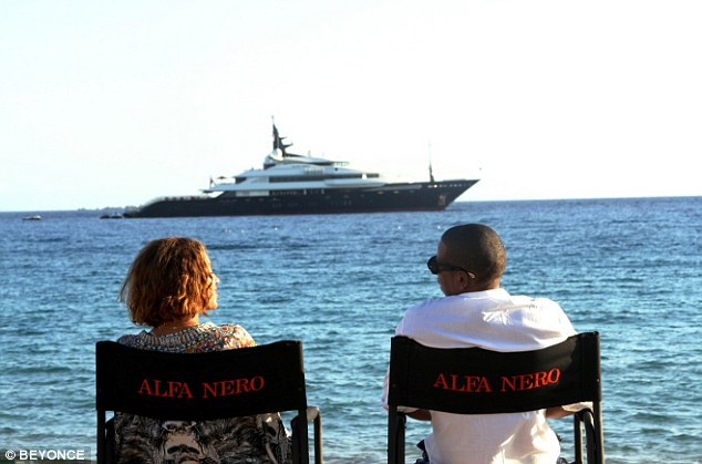 beyonce and jay Z admired their charter yacht ALFA NERO whilst on holiday in the south of france