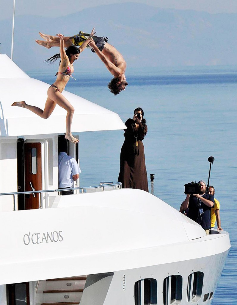 brody jenner and kylie kardashian dive from the top deck of luxury yacht O'Ceanos in  greece