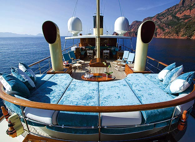 Johnny depp's Luxury yacht AMPHITRITE's (ex Vajoliroja)  comfy sunpads on upper deck