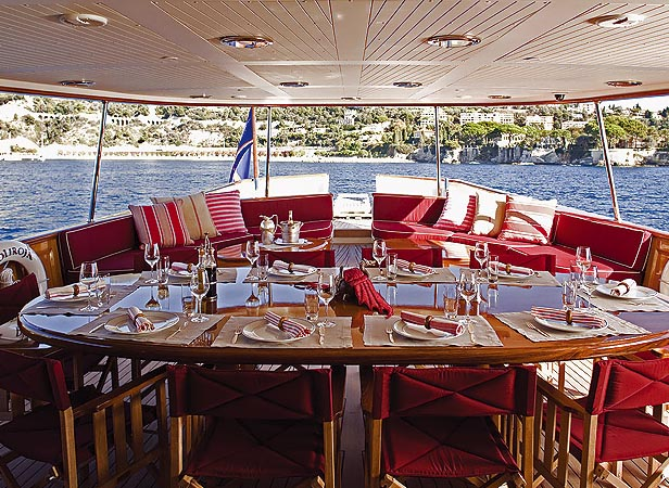 Johnny depp's Luxury yacht AMPHITRITE's (ex Vajoliroja) al fresco dining area on deck