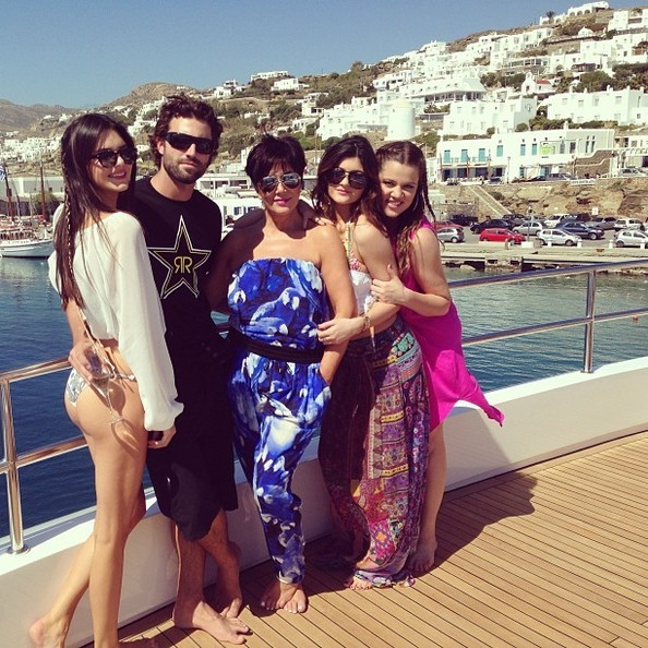the kardashians on board luxury yacht O'Ceanos in greece