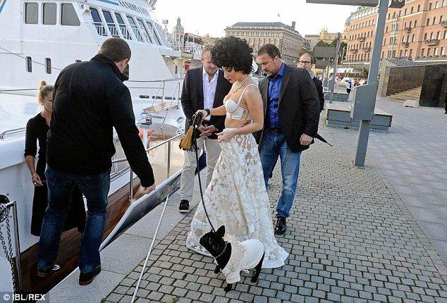lady gaga steps on board luxury yacht Merceditas in sweden with dog asia