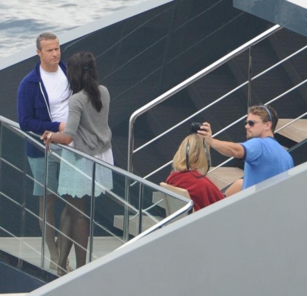 Naomi Campbell and Vladimir Doronin and Leonardo DiCaprio and Bar Refaeli on superyacht Ocean Emerald in capri