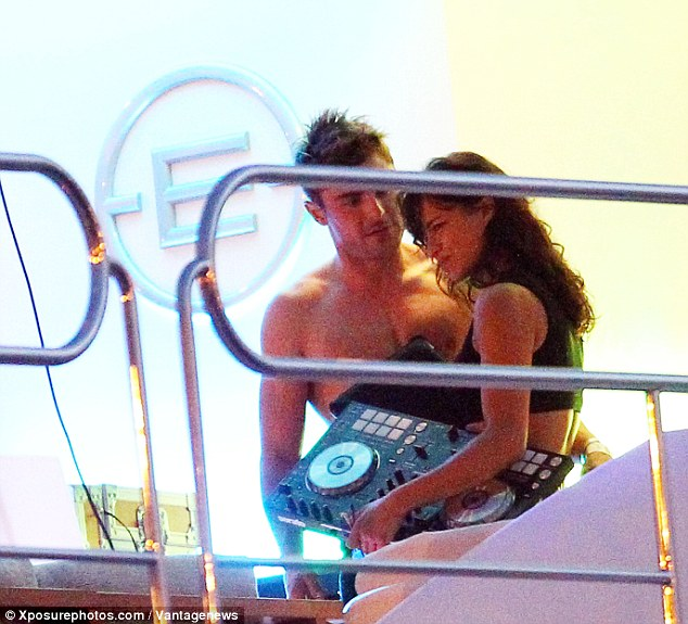 couple michelle rodriquez and zac efron hang out on board justin bieber's superyacht Ecstasea in ibiza