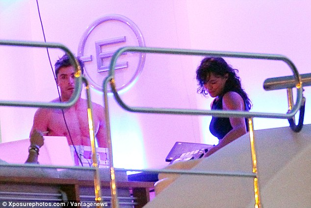 couple michelle rodriquez and zac efron play music on board justin bieber's superyacht Ecstasea in ibiza
