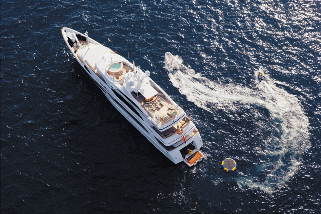Aerial view of superyacht Galaxy