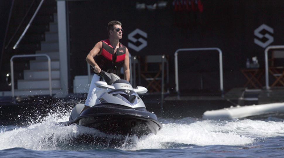 Simon Cowell on board his jet ski