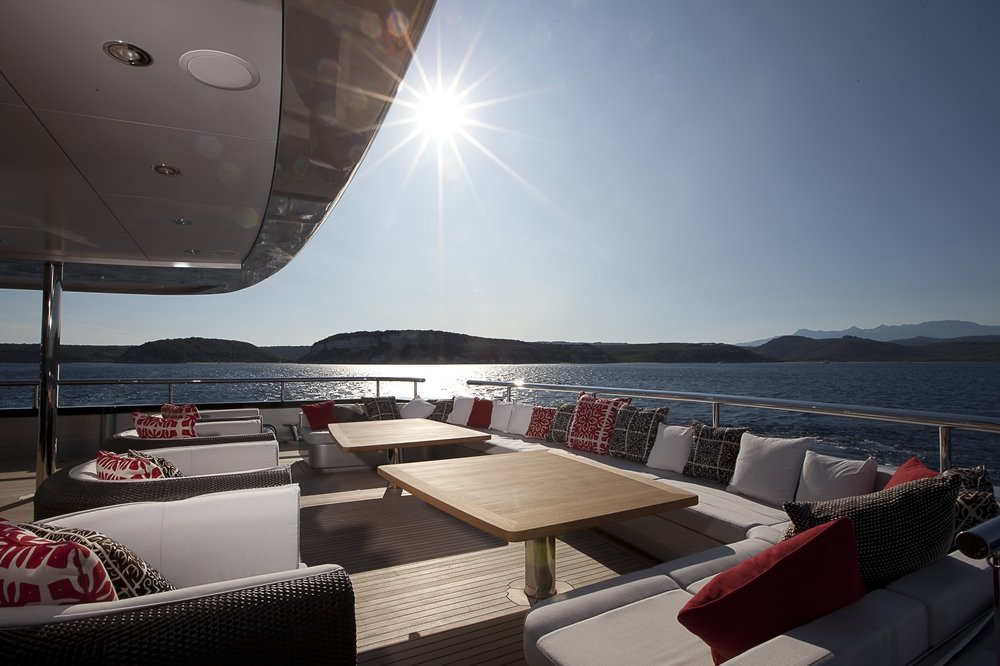 Deck space on superyacht Slipstream