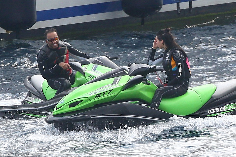 kendall jenner and lewis hamilton chat on superyacht axioma's jet-skis