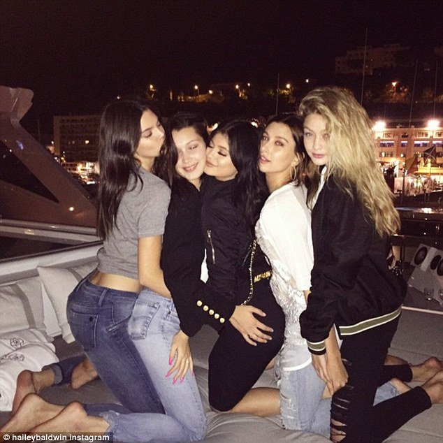 kendall and kylie jenner with friends on superyacht axioma