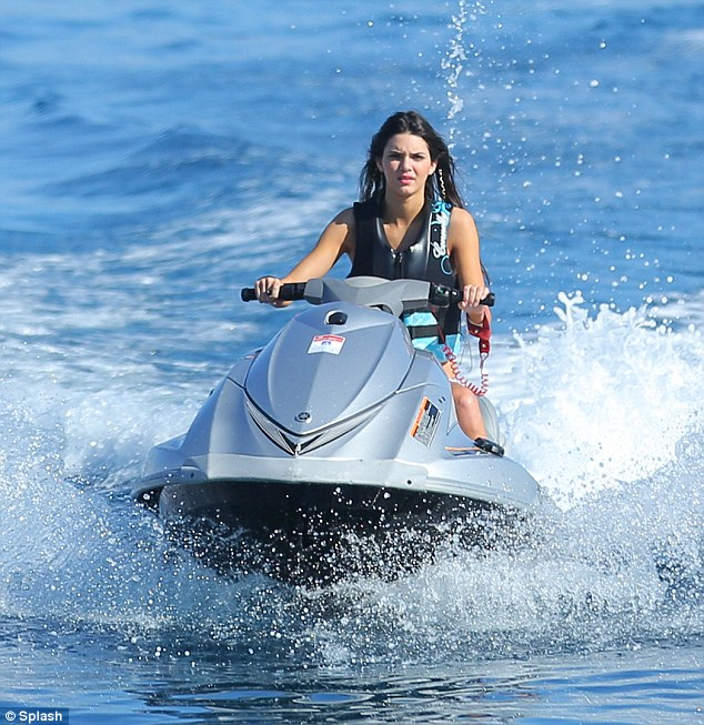 kendall jenner on jet-ski on superyacht vacation in mykonos