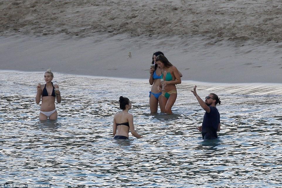 Leo with the ladies in St Barts
