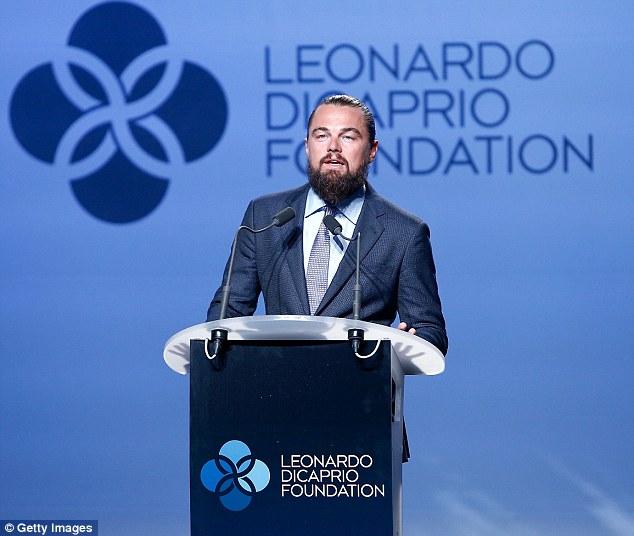 leo dicaprio speaks during leonardo dicaprio foundation gala