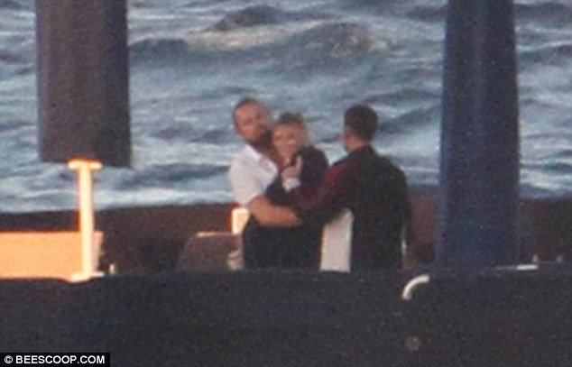 leonardo dicaprio and model kelly rohbach hug on superyacht arctic p in sardinia
