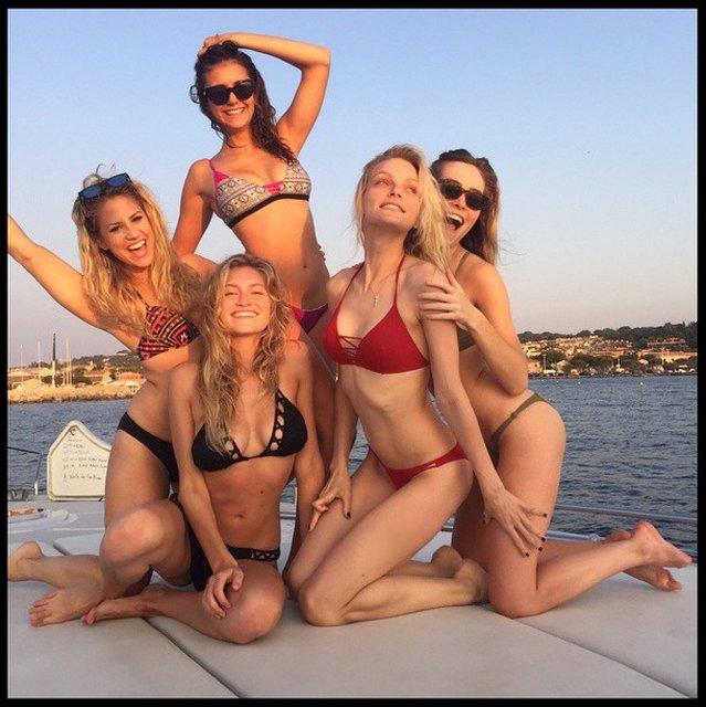 nina dobrev on yacht l'albatros with girlfriends in st tropez