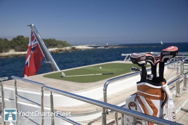 golf range on board superyacht amadeus rented by magic johnson and samuel l jackson