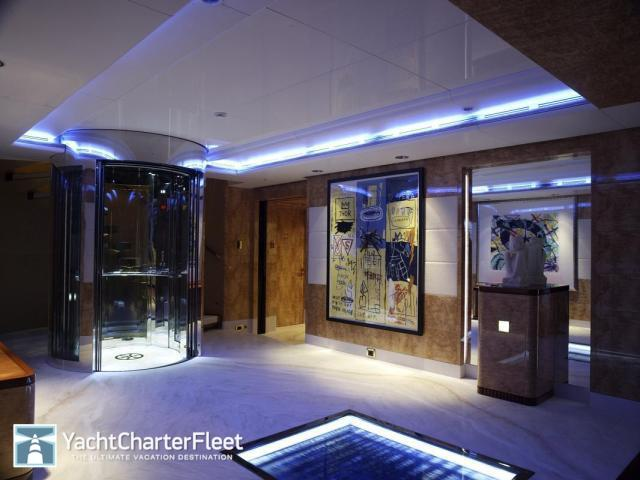 elevator on board superyacht amadeus rented by magic johnson and samuel l jackson