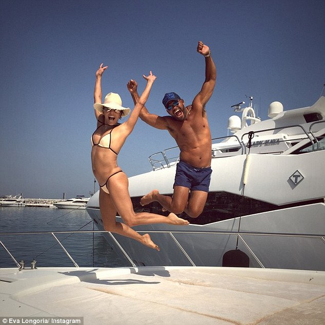 eva longaria on luxury yacht with friend in marbella