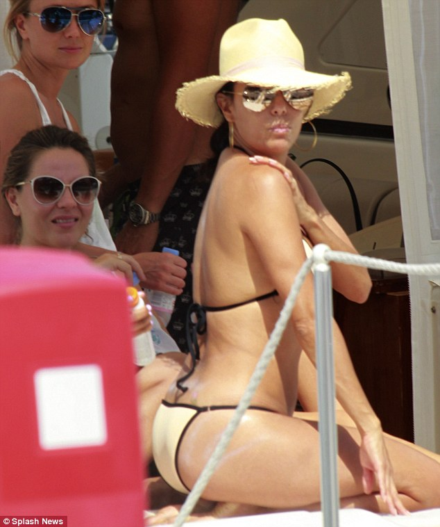 eva longaria pouts on luxury yacht with friends in marbella