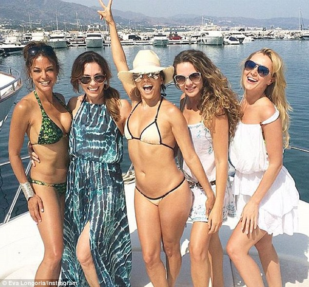 eva longaria and group of girlfriends on luxury yacht in marbella