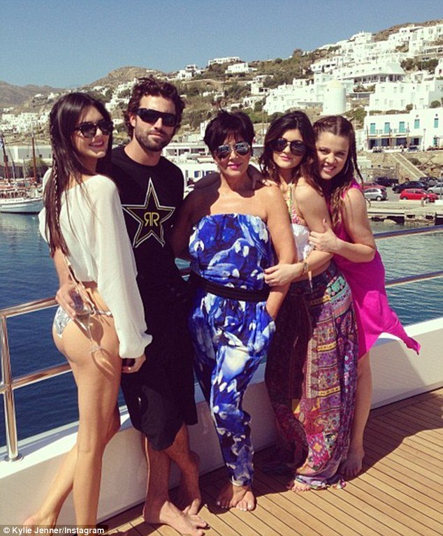 kendall and brody jenner with kardashian family on board superyacht O'Ceanos in Mykonos