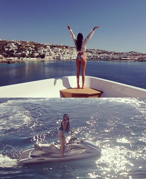 kendall jenner poses on superyacht  O'Ceanos in mykonos