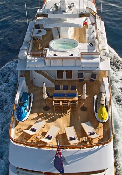 nina dobrev superyacht l'albatros aerial view of sundeck and main deck
