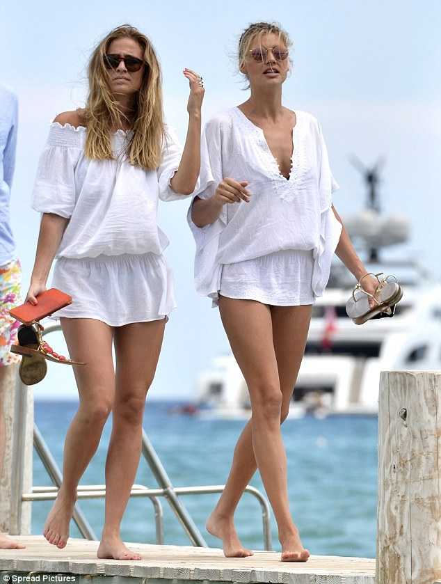 kelly rohrbach at st tropez harbor with friend after leaving leo dicaprio's yacht j.f.f.
