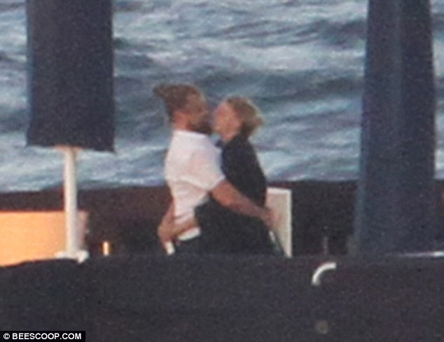 leonardo dicaprio and model kelly rohbach get close on superyacht arctic p in sardinia