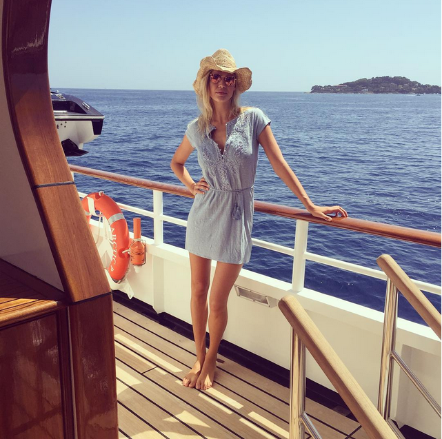 leo dicaprio's girlfriend kelly rohrbach on james packer's superyacht arctic p in sardinia