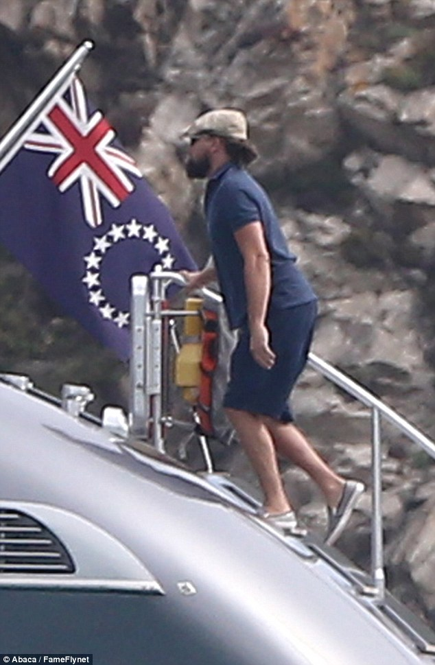 leo dicaprio and girlfriend model kelly rohrbach get on rented yacht j.f.f. in saint tropez