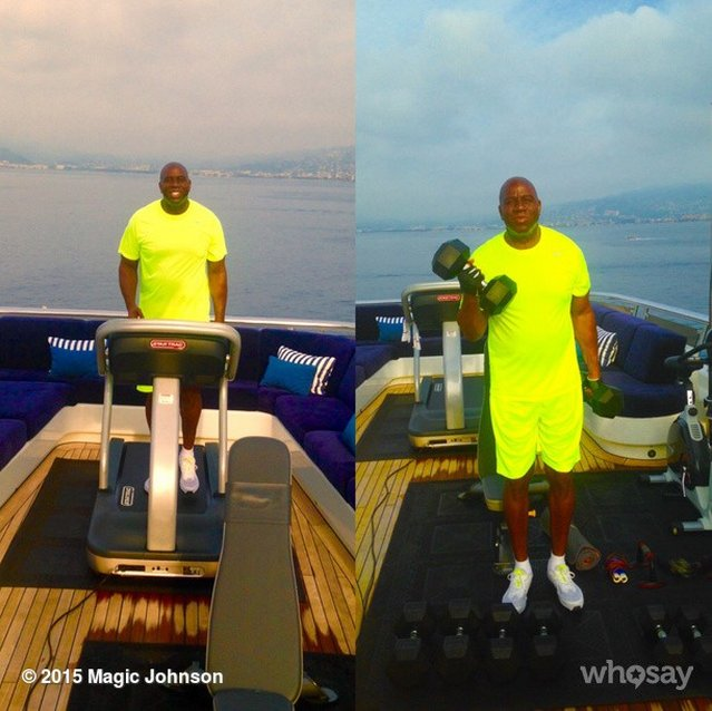 magic johnson works out at sundeck gym of rented yacht amadeus