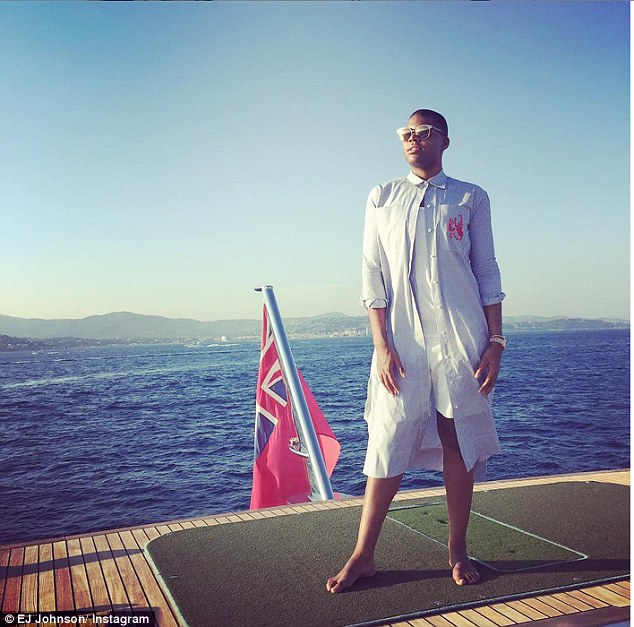 magic johnson's son EJ at golfing tee on rented yacht amadeus