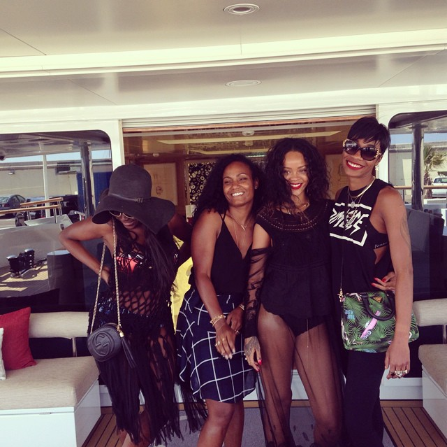 rihanna and friends (including best friend melissa ford) party on superyacht galaxy