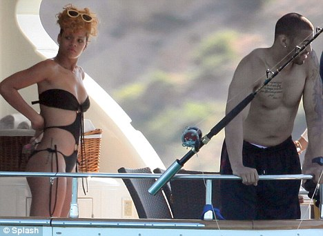 rihanna and matt kemp fish on luxury yacht in mexico